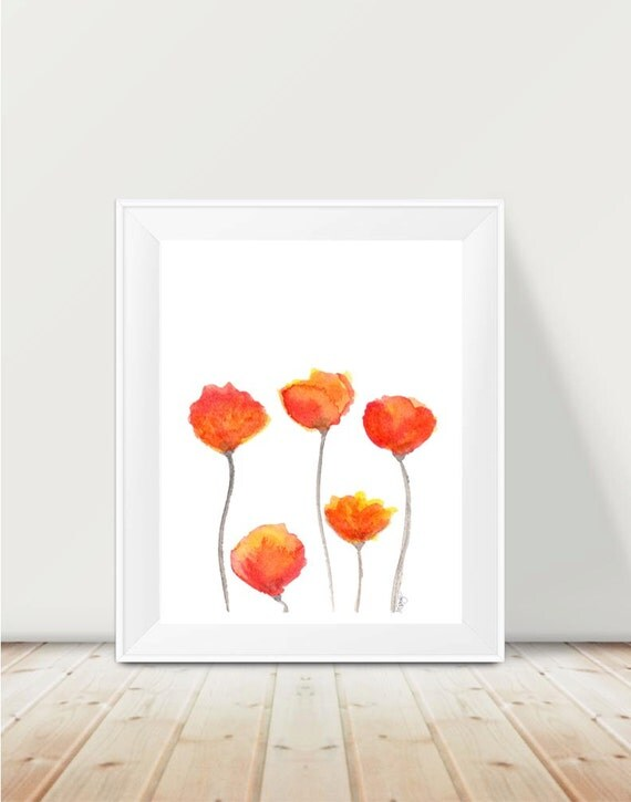 Orange Tulips Print, 11x14 Watercolor