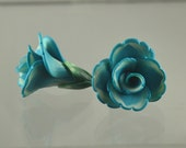 Dainty Flowers pair - polymer clay bead pair - aqua