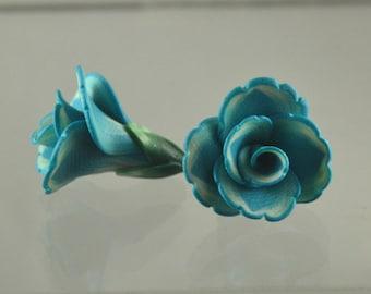 Flower beads 17mm - polymer clay bead pair - aqua