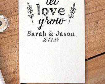 Let Love Grow Stamp, Seed Packet Stamp, Wedding Favor Stamp, Tag Rubber Stamp, Wedding Rubber Stamp, Seed Favor Stamp