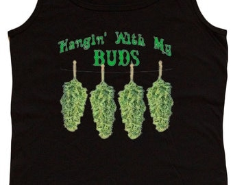 Ladies black tank top / Hangin' with my buds
