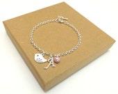 Bridesmaid Gift, Bridesmaid Bracelet, Flower Girl Gift, Flower Girl Bracelet, Personalised Bird Bracelet, Personalized Initial Bracelet
