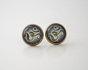 Om Earrings, Aum Earrings, Buddhist Earrings, Om Stud Earrings, Yoga Jewelry, Gypsy Jewelry