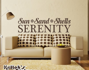 Sun Sand Shells Serenity Vinyl Wall Decal Quote with shells L136