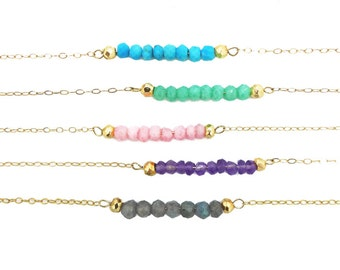 Gemstone Bar Necklace - Gemstone Bead Necklace - Toccajewelry