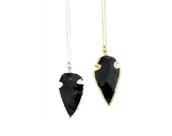Black Obsidian Arrowhead Necklace - Silver Arrowhead Necklace - Native American Jewelry