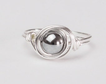 Silver Hematite Ring, Silver Ring, Sterling Silver Hematite Wire Wrapped Ring, Any Size, Gifts for Her