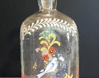 Hand Painted Glass Victorian Decanter