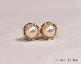 Gold Ivory Pearl Earrings Wire Wrapped Jewelry Handmade Gold Pearl Stud Earrings Cream Swarovski Pearl Earrings Bridal Pearl Earrings