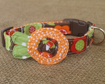 Dog Collar - Brown Floral with Orange Dot Flower and Green Leaves