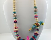 Vintage Parrot Necklace / 1980s Necklace / Birds of Paradise Wooden Necklace
