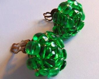 Emerald Green Glass Beaded Clip Earrings, Marked JAPAN