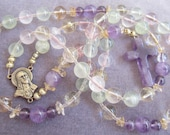 Healing Amethyst Pink Quartz Phrenite Citrine Prayer Beads Purple Cross Multi Gemstone Necklace Semi Precious Genuine Gems Unique Rosary