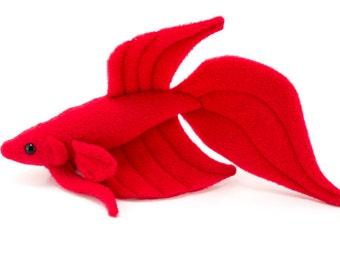 Red Betta Fish Stuffed Animal Plush Toy - Veil Tail Type Betta - MADE TO ORDER