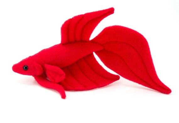 Red betta fish stuffed animal plush toy veil tail type betta for Toys for betta fish