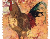 Folk Art Rooster print kitchen art from original watercolor batik on rice paper painting bright orange and yellow distressed look