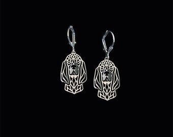 Black and Tan Coonhound earrings - sterling silver