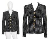 SALE - 15% Moschino Couture 1980s 1990s Vintage Blazer Jacket Black & White Polka Dots Cruise me Baby Size 6-8 Small