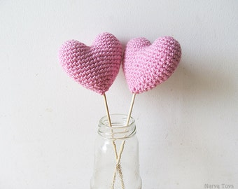 Amigurumi Crochet Dream Pink Heart (Set of 2) - Cake topper - Wedding table decor - Birthday party decoration