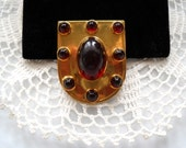 Early CORO Vintage Deep Red Glass Cabochon Art Deco Fur Clip  Pat.1852188