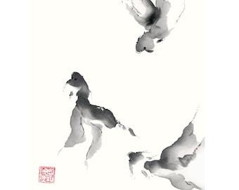Fish Painting Chinese Brush Ink Artwork of Goldfish in Black and White