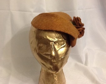 Tan Felt Fascinator with Handmade Roses