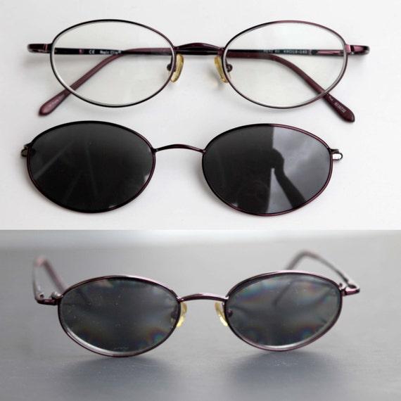 80s Eyeglasses Magic Clip on RX Sunglasses Purple Oval