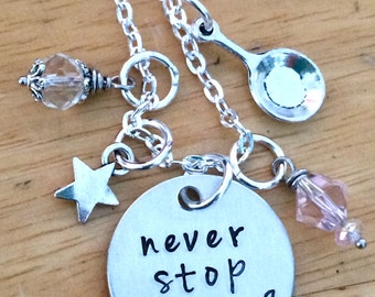 Tangled Necklace, Tangled, Rapunzel, Never Stop Dreaming Tangled Hand Stamped Charm Necklace