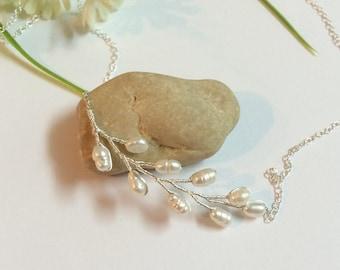 Bridal Pearl Branch Necklace Pearl Pendant Wedding Necklace Silver Wedding Jewelry Bridesmaid Necklace