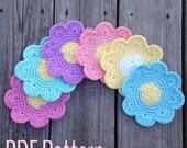 Crochet Flower Coaster Pattern, Crochet Pattern Instant Download PDF, Crochet Coaster Daisy Pattern, DIY Coaster Pattern