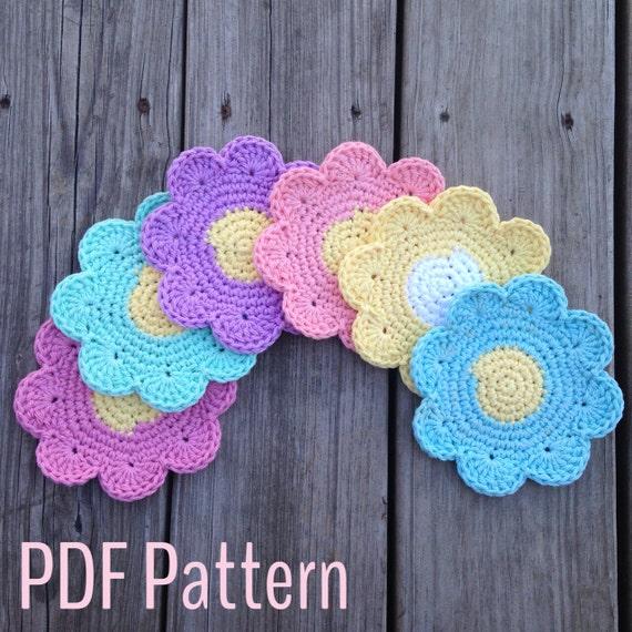 Free Crochet Daisy Coaster Pattern : Crochet Flower Coaster Pattern Crochet Pattern Instant
