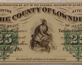 1866 Choice, Crisp, Uncirculated, Hayneville, Alabama, County of Lowndes .25 Cents Paper Currency, Possible Civil War Currency - 15003002