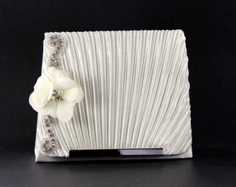 Bridal Clutch - Off White Evening Bag with Austrian Crystals - Off White Satin Purse - Bridal Clutch - Wedding Purse - Crystal Bridal Clutch
