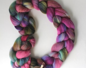 4oz Polwarth/Silk 85/15 'Asters 2' Combed Top Roving Handdyed Spinning Fiber Polwarth Silk
