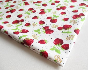 Red Juicy Strawberry in wild fabric cotton, baby shower, girl dress, fresh fruit, ipad case, kitchen curtain, table cover, Apron, CT320