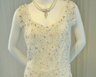 Vintage Beaded and Rhinestone French Silk Lace Mid Century Wedding Dress/Cocktail Dress