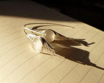 Silver Earrings Wire Foggy White Cat Eye Dangle - Herringbone Technique