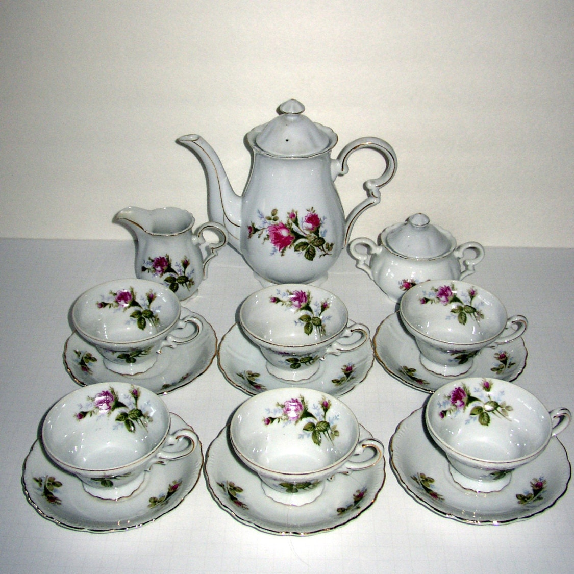 Vintage Tea Set Royal Sealy China Made in Japan Moss Rose
