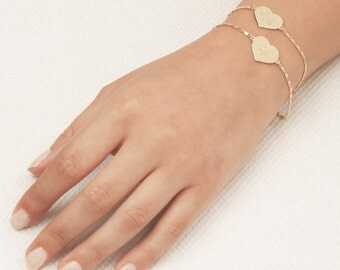 Initial Heart bracelet, Personalized Gold Bracelet, Gold Filled Bracelet, Bridesmaid Bracelet, Friendship Bracelet,Monogram Jewelry.