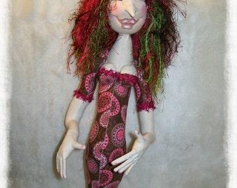 Cloth Doll - Cloth Art Doll - Stump Cloth Doll - Whimsical Cloth doll - Textile Art Doll - Art Doll - Stump Doll - Fabric Art Doll