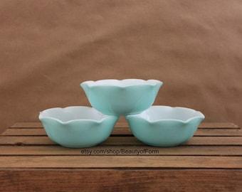 Hazel Atlas Ripple Blue Crinoline Cereal Bowls Set of 3