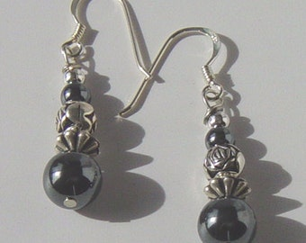 Hematite Bead Earrings with Sterling Silver Ear Wires, Hematite Earrings with Sterling Silver French Hoops