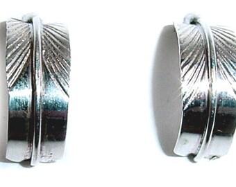 Sterling Silver Feather Earrings, Sterling Silver Feather Earrings with Post Back, Sterling Silver Feather Stud Earrings