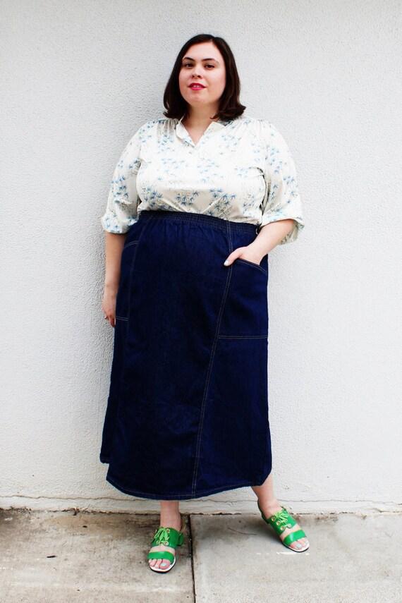 plus size vintage denim a line midi skirt size 18 20