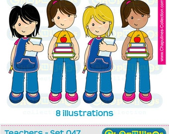 60% off Teachers Clip Art, school clipart, kindergarten teachers illustrations Set 047