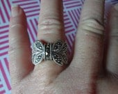 Silver Butterfly Ring Marcasite 925 Sterling Silver Thick Chunky Bold Statement Birthday Gift Anniversary Size 10 Full Figure Womens Womans