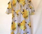 vintage light blue dress / 1970s dress medium / 70s maxi dress / vintage hawaiian dress / vintage dress women / floral maxi dress