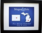 Custom Long Distance Gift: Personalized Gifts For Boyfriend Girlfriend Fiance Moving Away Deployment Gift Map Military Wedding Present