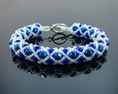 Netted Bead Bracelet- Sapphire Blue and White- Faceted Glass Beads- Japanese Seed Beads