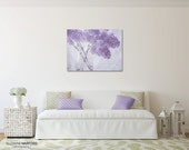 Ready to Hang, Flower Photograph, Purple Lilac Flowers, Canvas Wall Decor, Choice of Size, lavender, gray, shabby chic, large wall art